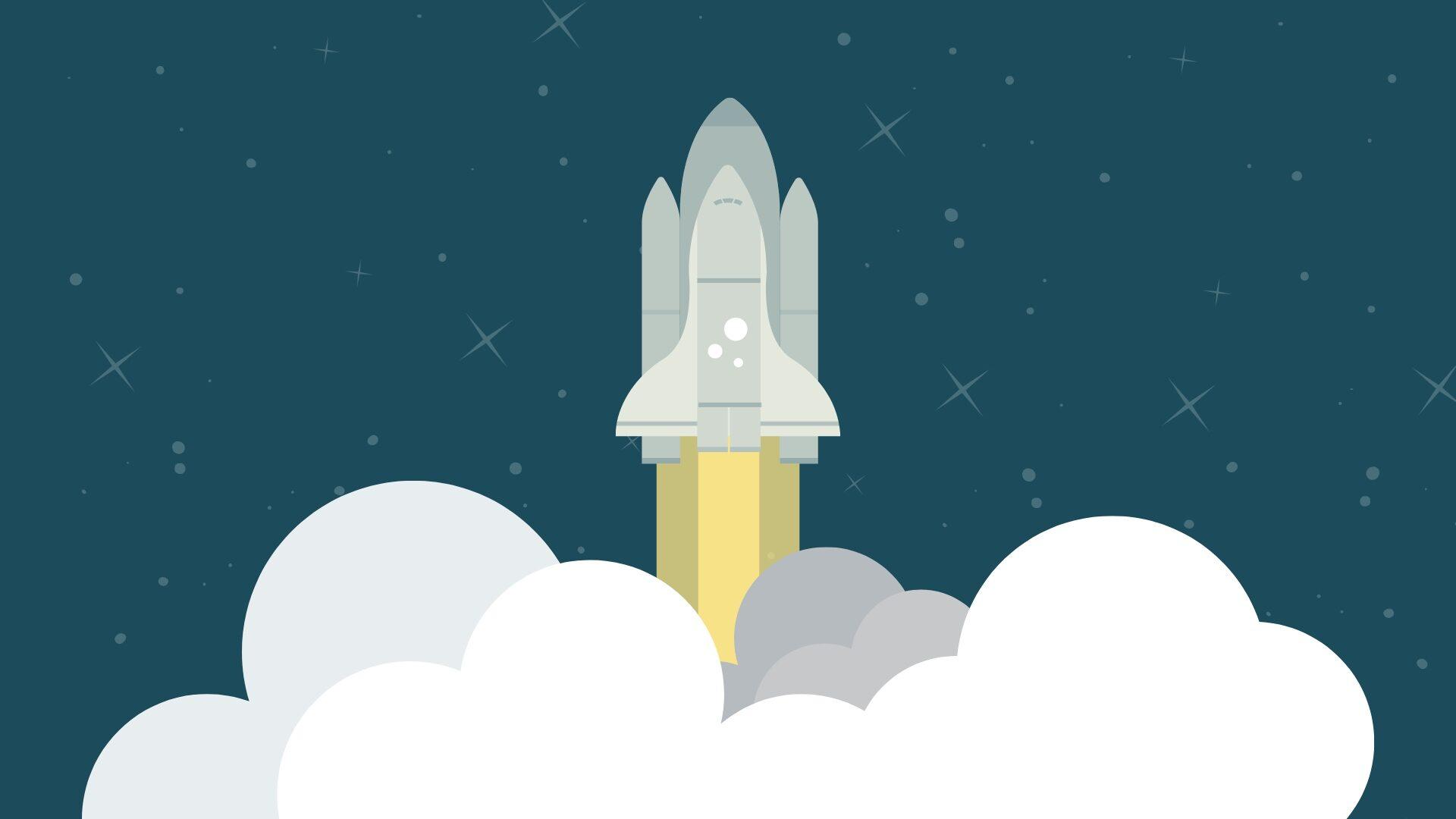 Rakett med KPH logo tar av bakom skyene